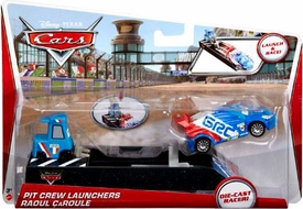 Disney / Pixar CARS Movie Pit Crew Launchers 1:55 Die Cast Racer Raoul CaRoule & Pitty
