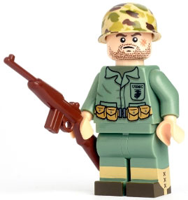 ToyWiz Citizen Brick Exclusive Minifigure WWII US Marine with Brickarms Carbine
