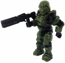 Halo Wars Mega Bloks LOOSE Mini Figure UNSC Green Spartan Soldier with Rail Gun