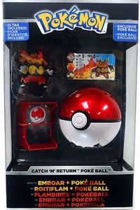Pokemon TOMY Trainer's Choice Catch 'n' Return Poke Ball Emboar & Poke Ball