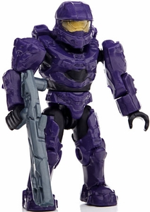 Halo Wars Mega Bloks LOOSE Mini Figure UNSC Purple Spartan Mark VI  [Series 8]