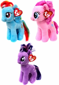 My Little Pony Set of 3 Ty Beanie Babies [Rainbow Dash, Pinkie Pie & Twilight Sparkle]