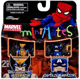 Marvel MiniMates Mini Figure 2-Pack Battle-Damaged Wolverine & Captain America