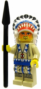 LEGO Western LOOSE Mini Figure Indian Blue Chief with Headdress and Spear