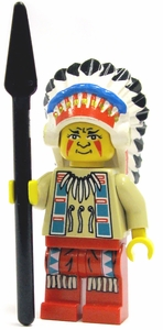 LEGO Western LOOSE Mini Figure Indian Red Chief with Headdress and Spear