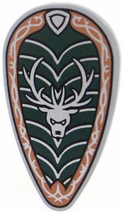 LEGO Castle LOOSE Shield Large Ovoid Shield with Silver Stag on Green & Silver Field