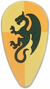 LEGO Kingdoms LOOSE Shield LargeDragon on Yellow & Orange Quarter Shield