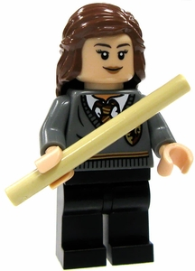 LEGO Harry Potter LOOSE Mini Figure Hermione in Griffindor Uniform with Tan Wand Light Flesh