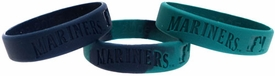 Forever Collectibles Official MLB Team Rubber Bracelet Seattle Mariners [3 Pack]