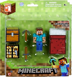 Minecraft Survival Pack with Leather Steve Action Figure Hot!