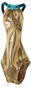Monster High 10.5 Inch Scale LOOSE Doll Accessory Metallic Gold Bathing Suit with Turquoise Accents