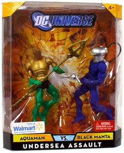DC Universe Classics Exclusive Undersea Assault Action Figure 2-Pack Aquaman & Black Manta Damaged Package, Mint Contents!