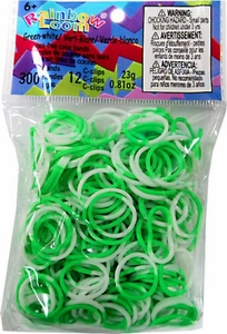 Official Rainbow Loom 300 Ct. SILICONE Rubber Band Refill Pack GREEN & WHITE TWO-TONE [Includes 12 C-Clips!]