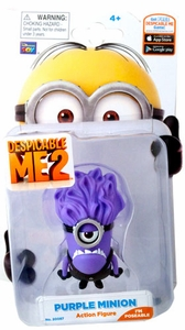 Despicable Me 2 Poseable 2 Inch Action Figure Evil Purple Minion Stuart New!
