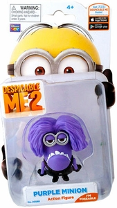 Despicable Me 2 Poseable 2 Inch Action Figure Evil Purple Minion Jerry New!