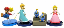 Tomy Gacha Set of 4 Super Mario Galaxy Mini 2 Inch PVC Figures [Mario, Peach, Rosalina & Takopos]