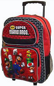 Super Mario Bros. Mini Roller Sparkly Bookbag / Backpack [Red]