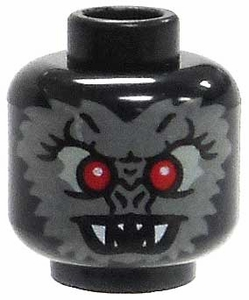 LEGO LOOSE Head Black Bat Head with Gray Face, Red Eyes & Fangs