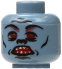 LEGO LOOSE Head Blue Zombie with Pug Nose & Rotting Teeth