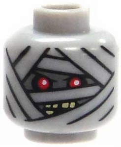 LEGO LOOSE Head Gray Mummy Head with 1 Red Eye / 2 Red Eyes & Snarl