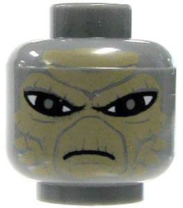 LEGO LOOSE HEAD Gray with Alien Features & Sand Brown Scales