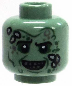 LEGO LOOSE Head Sand Green Male Head with Barnicles & Baring Teeth