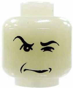 LEGO LOOSE Head Glow In The Dark Glaring Sneer