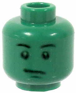 LEGO LOOSE Head Green Male with Green Face & Stern Look