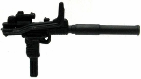 GI Joe 3 3/4 Inch LOOSE Action Figure Accessory Black Uzi with Silencer & Folding Wire Stock