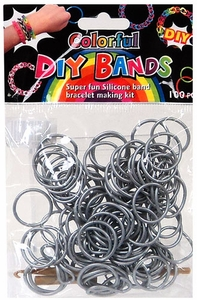 D.I.Y. Do it Yourself Bracelet Bands 100 Silver Rubber Bands with Hook Tool & Buckles