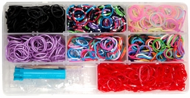 Rainbow Band Loom Bracelet Kit 1600 Bands, 1 Mini Loom 1 Hook Tool, 60 Clips & Carry Case