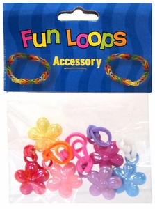 Fun Loops Rubber Band Bracelet Charm 6-Pack Flowers