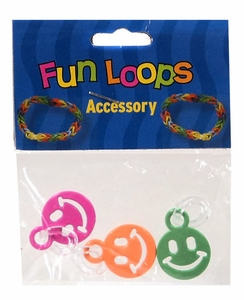 Fun Loops Rubber Band Bracelet Charm 3-Pack Smiley Face