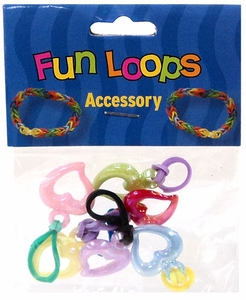 Fun Loops Rubber Band Bracelet Charm 6-Pack Open Hearts