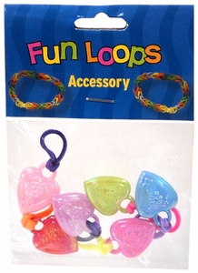Fun Loops Rubber Band Bracelet Charm 6-Pack Floral Hearts