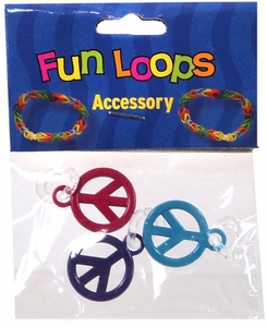 Fun Loops Rubber Band Bracelet Charm 3-Pack Peace Signs