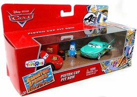 Disney / Pixar CARS Radiator Springs Classic Exclusive 1:55 Die Cast 3-Pack Piston Cup Pit Row [Lightning McQueen, Pit Crew Member Flo & Pit Crew Member Guido]