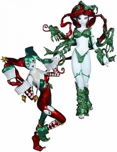 DC Collectibles Ame-Comi 9 Inch PVC Figure Statue 2-Pack Holiday Harley Quinn & Poison Ivy