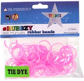 Undee Bandz Rubbzy 100 Pink & White Tie-Dye Rubber Bands with Clips