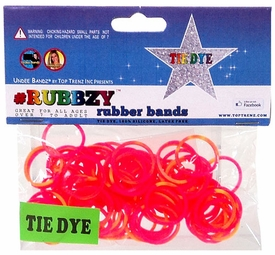 Undee Bandz Rubbzy 100 Pink & Yellow Tie-Dye Rubber Bands with Clips BLOWOUT SALE!