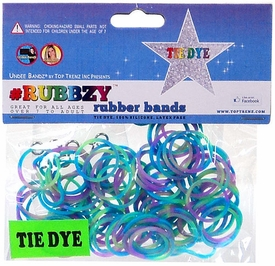 Undee Bandz Rubbzy 100 Green, Blue & Purple Tie-Dye Rubber Bands with Clips