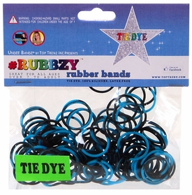Undee Bandz Rubbzy 100 Black & Blue Tie-Dye Rubber Bands with Clips