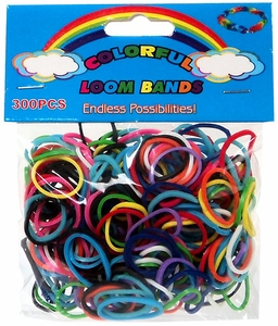 Colorful Loom Bands 300 Multi-Color Rubber Bands with 'S' Clips