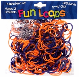 Fun Loops 300 Orange & Purple Tie Dye Rubber Bands with 'S' Clips