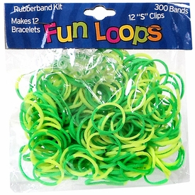 Fun Loops 300 Green & Yellow Tie Dye Rubber Bands with 'S' Clips