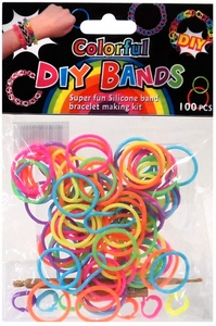 D.I.Y. Do it Yourself Bracelet Bands 100 Neon Rainbow Rubber Bands with Hook Tool & Buckles