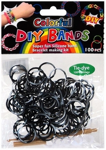 D.I.Y. Do it Yourself Bracelet Bands 100 Black & White Tie Dye Rubber Bands with Hook Tool & Buckles