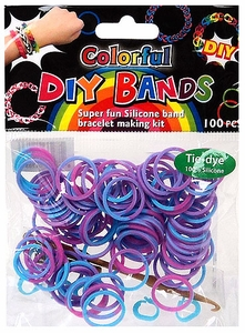 D.I.Y. Do it Yourself Bracelet Bands 100 Blue, Purple & Pink Tie Dye Rubber Bands with Hook Tool & Buckles
