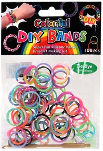 D.I.Y. Do it Yourself Bracelet Bands 100 Rainbow Tie Dye Rubber Bands with Hook Tool & Buckles