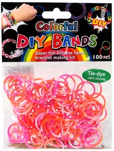 D.I.Y. Do it Yourself Bracelet Bands 100 Orange, Pink & White Tie Dye Rubber Bands with Hook Tool & Buckles